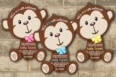 Jungle Monkey Safari Baby Shower Invitations Boy Girl Birthday Party Invitation #newyorkinvitations #BabyShower