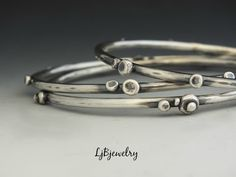 Silver Bangle, Stacking Bangle, Sterling Silver Bangle, Statement Bangle, Chunky Bangle, Sterling Silver, Artisan Made, Metalsmith Jewelry by LjBjewelry on Etsy