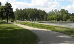 Olson Park walkway looking NW over Sunset Park area and road to Grade across Sunset Bay