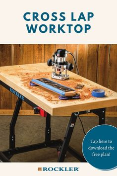 Torsion-box-style construction gives this visible strength and rigidity without excessive weight. Building it is easy with Rockler's innovative Cross Lap Jig. Just add a stand and you've got a custom work table. Tap here to download the free plan! #CreateWithConfidence #crosslap #jig #worktop #shoptable #workstation Woodworking Shop, Woodworking Projects Diy, Woodworking Plans, Torsion Box, Free Plants, Wood Plans, Drafting Desk, How To Plan, Work Tops