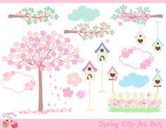 Spring Clip Art Set by 1EverythingNice on Etsy,