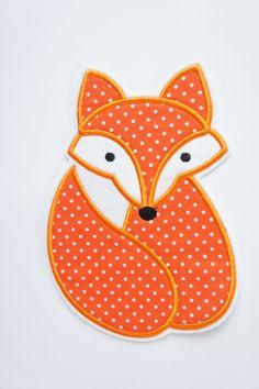 Stickapplikationen - ♥ Fuchs Applikation orange gepunktet XL - ein Designerstück von zuckerputzig bei DaWanda