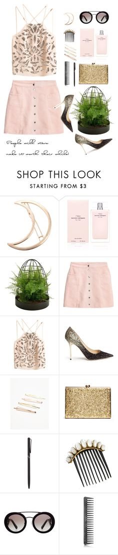 """""""shimmer"""" by ghmahi ❤ liked on Polyvore featuring Chicnova Fashion, Narciso Rodriguez, Picnic at Ascot, H&M, Jimmy Choo, Free People, Tiffany & Co., Prada, GHD and girlsnightout"""