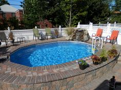 In Ground Swimming Pool Design . In Ground Swimming Pool Design . This Photo About Best Semi Inground Pools Design Ideas Inground Pool Designs, Small Inground Swimming Pools, Swimming Pool Prices, Oberirdische Pools, Small Backyard Pools, Backyard Pool Landscaping, Above Ground Swimming Pools, Swimming Pool Designs, Above Ground Pool