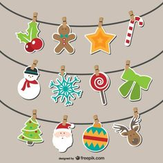 Artistic Christmas bunting Free Vectors. More Free Vector Graphics…
