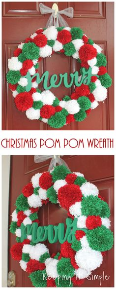 This super cute and fun DIY Christmas pom pom wreath is perfect to put on your door! It's fun and bright and merry! The pom poms are super easy to make with a pom pom maker. Christmas Pom Pom Crafts, Crochet Christmas Decorations, Diy Christmas Ornaments, Diy Christmas Gifts, Holiday Crafts, Simple Christmas, Christmas Bark, Spring Crafts, Christmas Crafts To Make And Sell