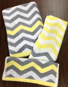Chevron 3 Piece Set Yellow White Gray Bath Towel ~ kind of like the mixing & matching !!!!