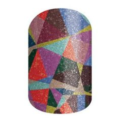 Crash Art | Jamberry | Intersecting colors create interesting patterns and shapes on this eye-catching sparkle wrap.