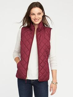 Quilted Vest for Women Red or navy size L Vest Outfits For Women, Jackets For Women, Casual Outfits, Clothes For Women, Outerwear Women, Outerwear Jackets, Navy Quilt, Wool Vest, Quilted Vest