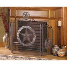 Rustic Lone Star Western Home Decor Fireplace Screen