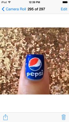 Pepsi nails! Cute for a party or just to wear for fun!