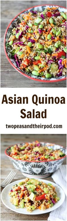 Asian Quinoa Salad Recipe on twopeasandtheirpod.com This easy and colorful quinoa salad is great as a side dish or main dish!