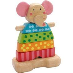 Mooie houten stapelvormen toren met een olifanten hoofd met zachte roze oren. Stapel de 5 lagen op elkaar en maak de olifant af of maak er een fantasie toren van.