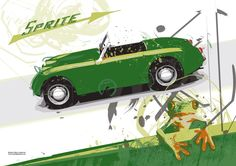 Austin Healey Sprite (Frog eye - Bug eye) limited edition print - available on www.fuelledgraphics.com