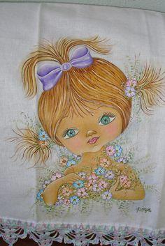 Pano de copa/Pintura em tecido - boneca | Flickr – Compartilhamento de fotos!