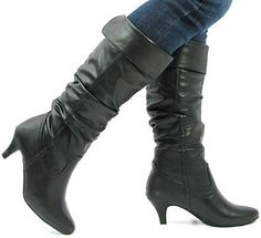 Black kitten heel boots - I like these with jeans