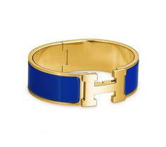 "Clic-Clac H Hermes bracelet Royal blue enamel<br />Gold plated hardware, 2.25"" diameter, 7.5"" circumference, 1"" wide<br /><br><br><span style=""color: #F60;"">This item may have a shipping delay of 1-3 days.</span><br><br>"