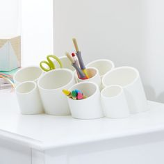 Boon White Stash Multi Room Organizer at Crate and Barrel Canada. Discover unique furniture and decor from across the globe to create a look you love. Craft Room Storage, Kids Storage, Craft Organization, Storage Bins, Art Storage, Storage Ideas, Pvc Pipe Storage, Craft Room Shelves, Craft Storage Furniture