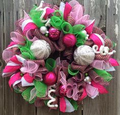 Pink and Green Christmas Pink and Green Wreath by BaBamWreaths