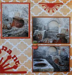 Herculaneum Travel Scrapbook Page with a Half Sun from Cricut's Ornamental Iron.