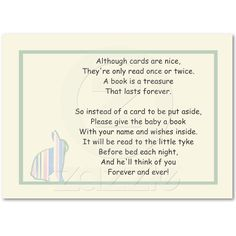 Striped Bunny Baby Shower Book Poem - Insert Card Business Card from Zazzle.com
