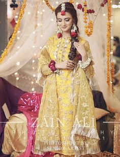 Mayoon outfit Pakistani Mehndi Dress, Bridal Mehndi Dresses, Pakistani Wedding Outfits, Wedding Dresses For Girls, Pakistani Dress Design, Pakistani Wedding Dresses, Bridal Outfits, Bridal Gowns, Pakistani Couture