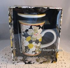 Vera Bradley Dogwood Covered Porcelain Cup Mug Black White Yellow Box Sealed New