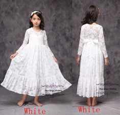 8e3ed6709b735 Flower Girl Long Sleeves or sleeveless Dress Lace Ribbon Sash Children  First Communion Please Check Carefully