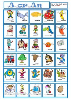 A or AN - English ESL Worksheets for distance learning and physical classrooms English Grammar Worksheets, English Resources, English Activities, English Lessons, Grammar And Punctuation, Grammar And Vocabulary, Grammar Lessons, Kids English, Learn English