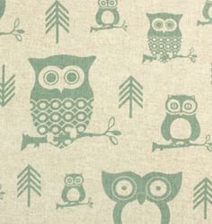Hooty Eaton Blue / Linen   Online Discount Drapery Fabrics and Upholstery Fabric Superstore!  Funny!!