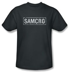 Sons Of Anarchy Shirt Samcro Adult Charcoal Tee T-Shirt Officially Licensed Available in Small, Medium, Large, XL, & Sons Of Anarchy Samcro, Biker Wear, Cool Shirts, Charcoal, My Style, Tees, Mens Tops, T Shirt, T Shirts