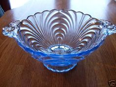 """CAMBRIDGE CAPRICE MOONLIGHT BLUE FOOTED MAYONAISSE  6-1/4"""" wide 65usd Vintage Dishes, Vintage Glassware, Antique Shops, Vintage Antiques, Love Vintage, Fenton Glass, Etched Glass, Carnival Glass, Glass Collection"""