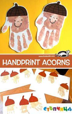 herbst Handprint acorns Buying Children's Clothing Online Article Body: Buying children's clothing f Autumn Crafts, Crafts For Kids To Make, Thanksgiving Crafts, Art For Kids, Art Activities For Toddlers, Autumn Activities, Fall Preschool, Preschool Crafts, Daycare Crafts