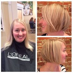 This newlywed shook up her look when Michelle transformed her hair into a cute blonde bob! via Re Salon and Med Spa