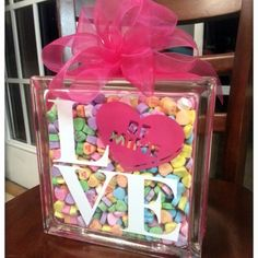 Sweetheart Glass Block for Valentine's Day With Free Cut File