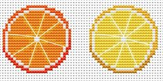Amanda Gregory cross-stitch design: free cross stitch orange and lemon tree decorations