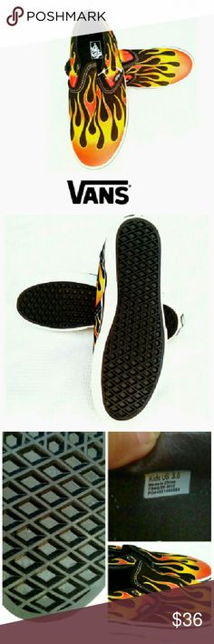 """★VANS""""HOT ROD FLAMES""""  SLIP ON SHOES *NEW VANS """"HOT ROD FLAMES"""" SLIP ON SHOES *   Classic Van Slip Ons *   Black & Red Canvas *   Rubbed Perforated Soles *   Size Youth US 3.0 *   New, Never Worn *   Sold Out on Sites Vans Shoes Sneakers"""