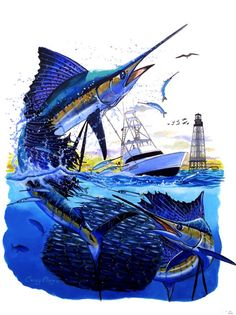 "SPECIES BLUE MARLIN CHASING TUNA /""GUY HARVEY/""  METAL TRASH CAN"