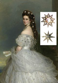 """Detail of portrait of Empress Elisabeth of Austria, by Winterhalter, 1865, Bundesmobilienverwaltung Hofburg Vienna Sisi Museum (photo: Gerald Schedy). Empress Elisabeth """"Sisi"""" is shown in a court gala dress designed by Worth, with diamond stars in her hair. Sisi possessed a variety of diamond stars, both eight-pointed and ten-pointed, with and without pearls. The inset photo (© SKB) shows diamond stars with pearls and without pearls, made by Köchert and Rozet & Fischmeister, respectively."""