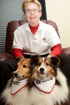 Joyce Fowler is seen here with her two Shelties, Dusty and Bandit, in her Trenton home Thursday, March 8, 2012. Fowler has taken over the leadership role of the local St. John Ambulance Therapy Dog program. EMILY MOUNTNEY/TRENTONIAN/QMI AGENCY