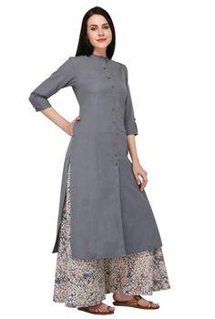 Kurta palazzo - Pistaa's Women's Cotton Solid Kurta with Palazzo Bottom Set Simple Kurti Designs, Kurta Designs Women, Salwar Designs, Designs For Dresses, Dress Neck Designs, Blouse Designs, Stylish Dresses, Fashion Dresses, Kurta Neck Design
