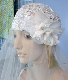 Lace Bridal Cap Cloche Beaded Wedding Head by AliceSiouxBridal, $225.00