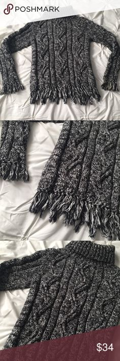Lucia Burns Black/White Turtleneck Fringe Sweater Lucia Burns Chunky Thick Black & White Turtleneck Fringe Sweater size medium - sleeve and bottom fringe detail, very thick & warm! 100% cotton ----- 🚭 All items are from a non-smoking home. 👆🏻Item is as described, feel free to ask questions. 📦 I am a fast shipper with excellent ratings. 👗I love bundles & bundle discounts. Feel free to make an offer! 😍 Like this item? Check out the rest of my closet! 💖 Thanks for looking! Lucia Burns…