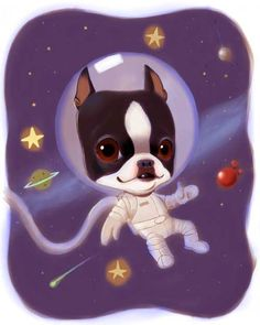 Boston Terrier Space Man by rubenacker on Etsy, $18.00