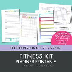 NEW for November - Fitness Planner Printables Kit - Filofax Personal Insert - Filofax Personal Inserts - Fits in Filofax Personal Size Planner, 3.75x6.75 inches.  FreshPaperieEtsy, $4.75