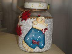 vidro de natal. biscuit e tecido