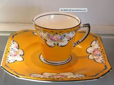 Unusual Antique Duchess China Yellow Espresso Art Deco Cup & Saucer Cups & Saucers photo