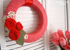 Create this simple and sweet wreath for your door or window this Valentine's Day from Craftaholics Anonymous!