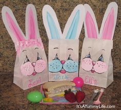 Hand Painted White Lunch Bags for the kids Easter picnic