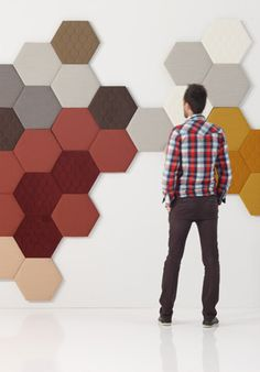 Modular indoor TEA New Collection by Textured Wall Panels, 3d Wall Panels, Fabric Panels, Acustic Panels, Wall Pannels, Motif Hexagonal, Office Space Planning, Acoustic Fabric, 3d Wall Tiles